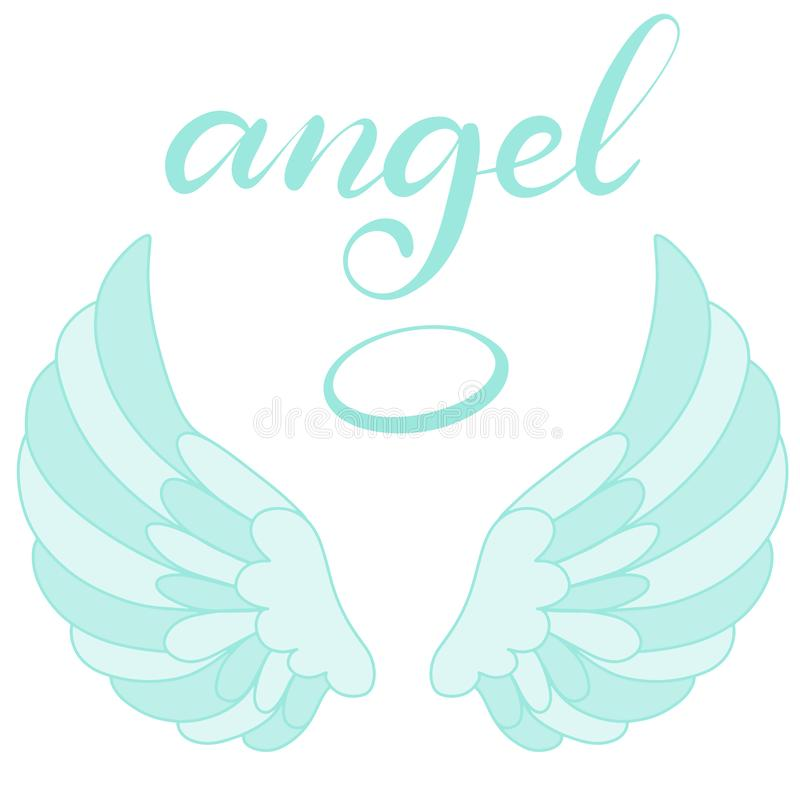Icono de las alas del ángel con la mano que pone letras a ángel de la palabra stock de ilustración