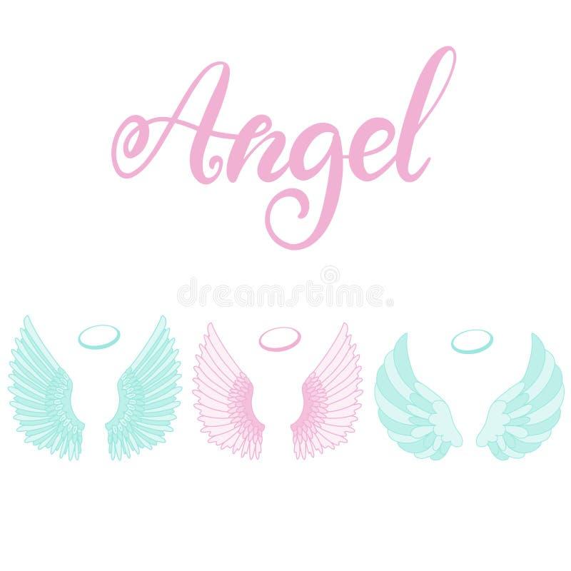 Icono de las alas del ángel con la mano que pone letras a ángel de la palabra ilustración del vector