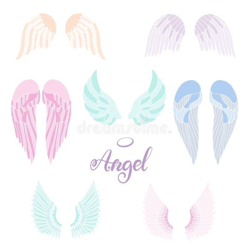 Icono de las alas del ?ngel con la mano que pone letras a ?ngel de la palabra libre illustration