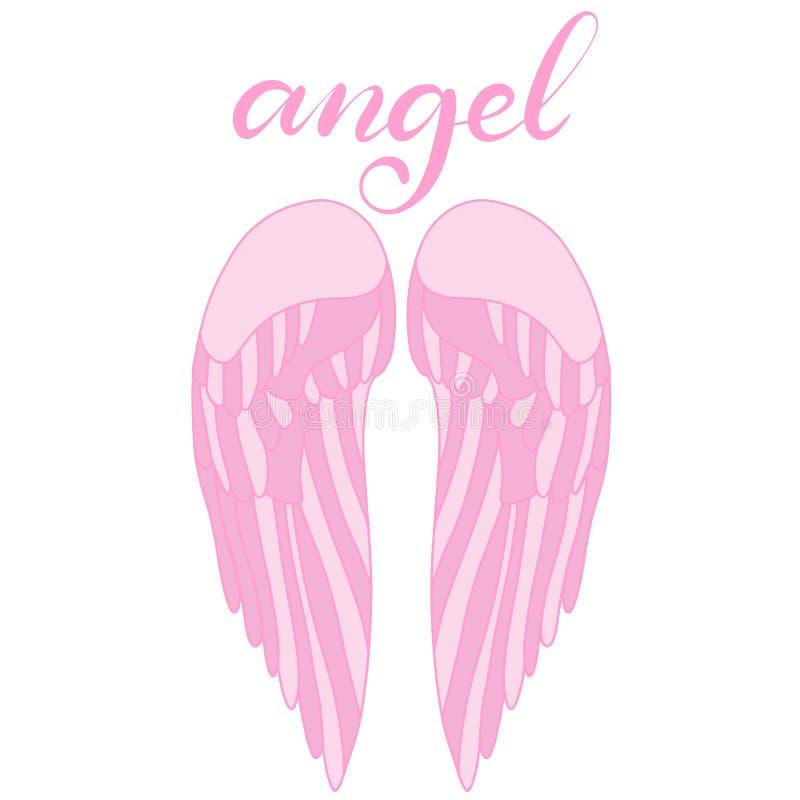Icono de las alas del ?ngel con la mano que pone letras a ?ngel de la palabra stock de ilustración