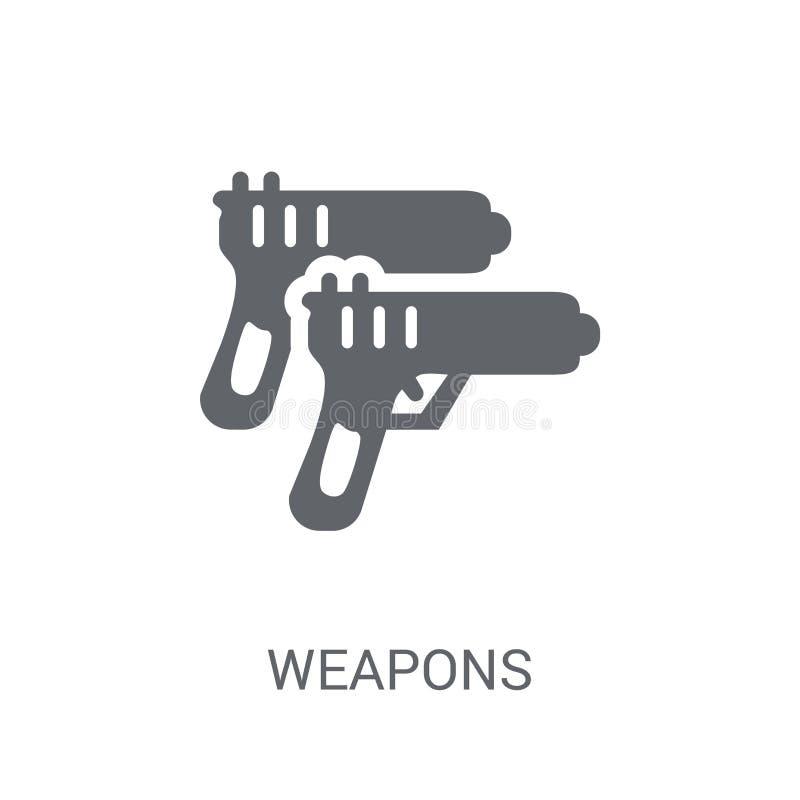 Icono de las armas Concepto de moda del logotipo de las armas en el fondo blanco franco ilustración del vector