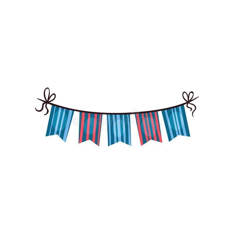 Icono de las banderas rayadas del empavesado Accesorio colorido para la fiesta de cumpleaños Elemento del diseño gráfico para la  libre illustration