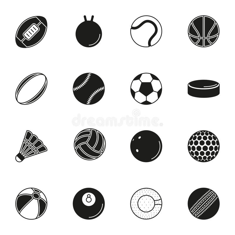 Icono de las bolas de los deportes fijado en el fondo blanco stock de ilustración