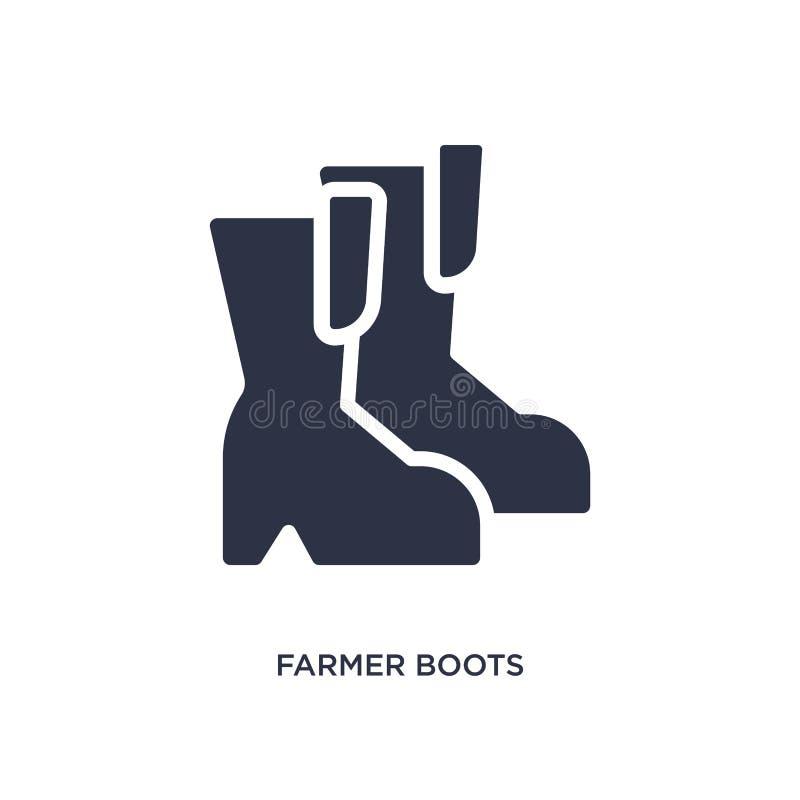 icono de las botas del granjero en el fondo blanco Ejemplo simple del elemento del concepto agrícola y que cultiva un huerto de l libre illustration