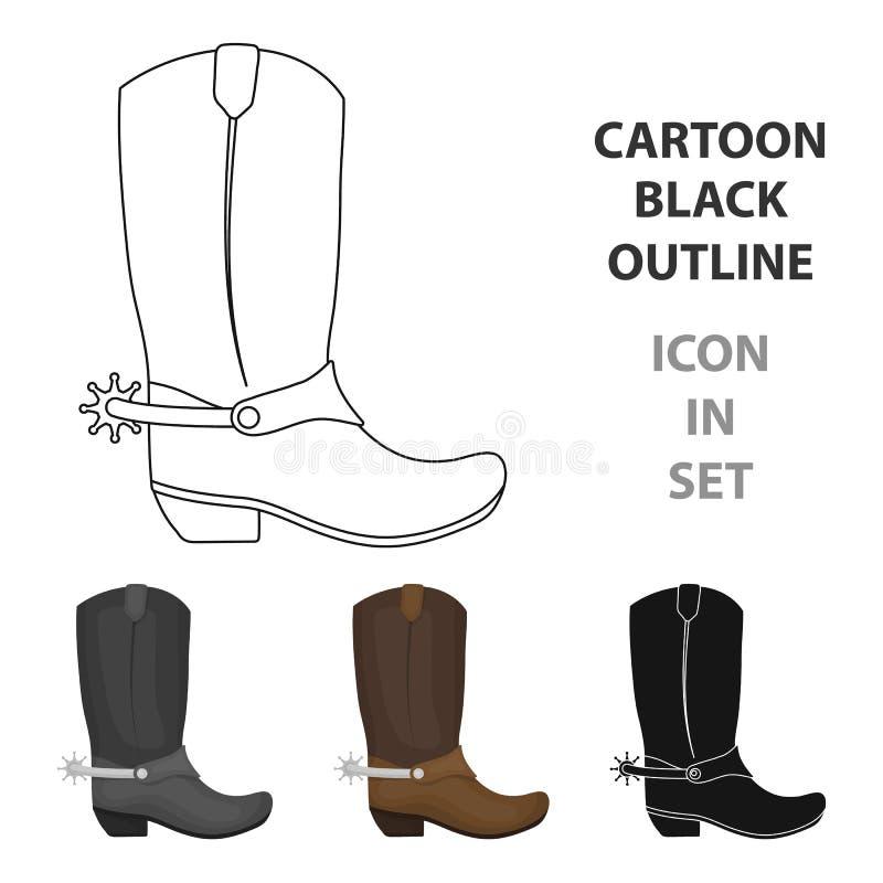 Icono de las botas de vaquero en estilo de la historieta en el fondo blanco Ejemplo del vector de la acción del símbolo del rodeo libre illustration