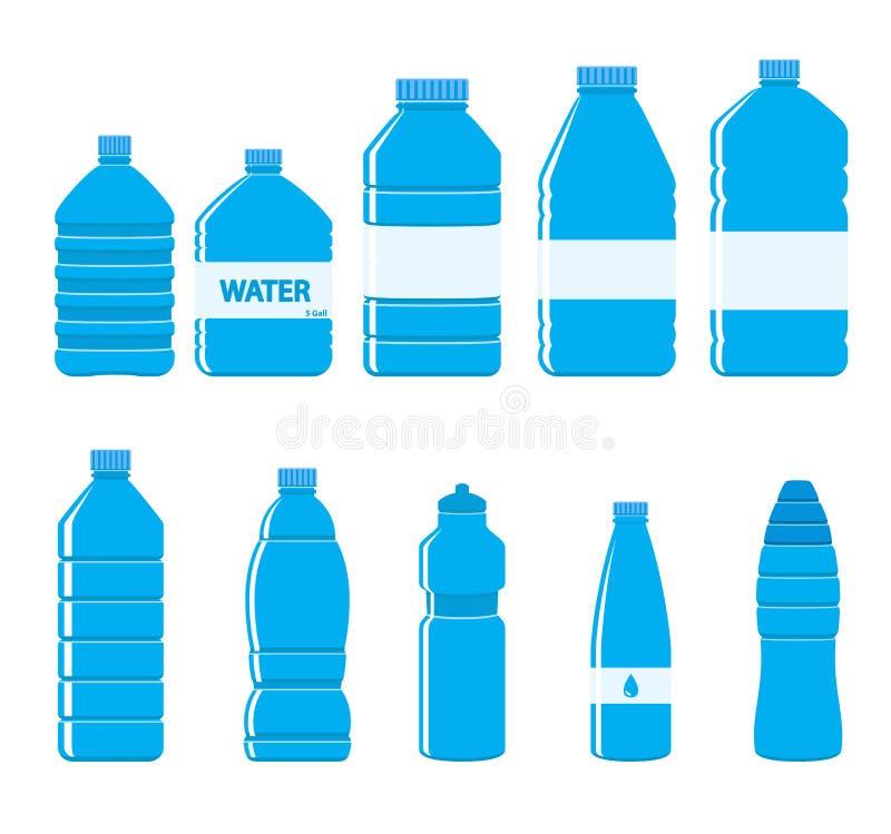 Icono de las botellas del plástico fijado en el fondo blanco ilustración del vector