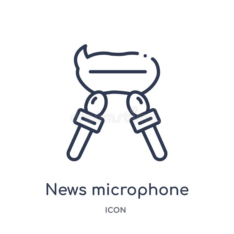 icono de las burbujas del micrófono y del discurso de las noticias de la colección del esquema de las herramientas y de los utens stock de ilustración