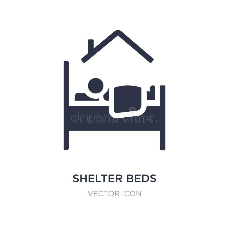 icono de las camas del refugio en el fondo blanco Ejemplo simple del elemento del concepto de la caridad ilustración del vector