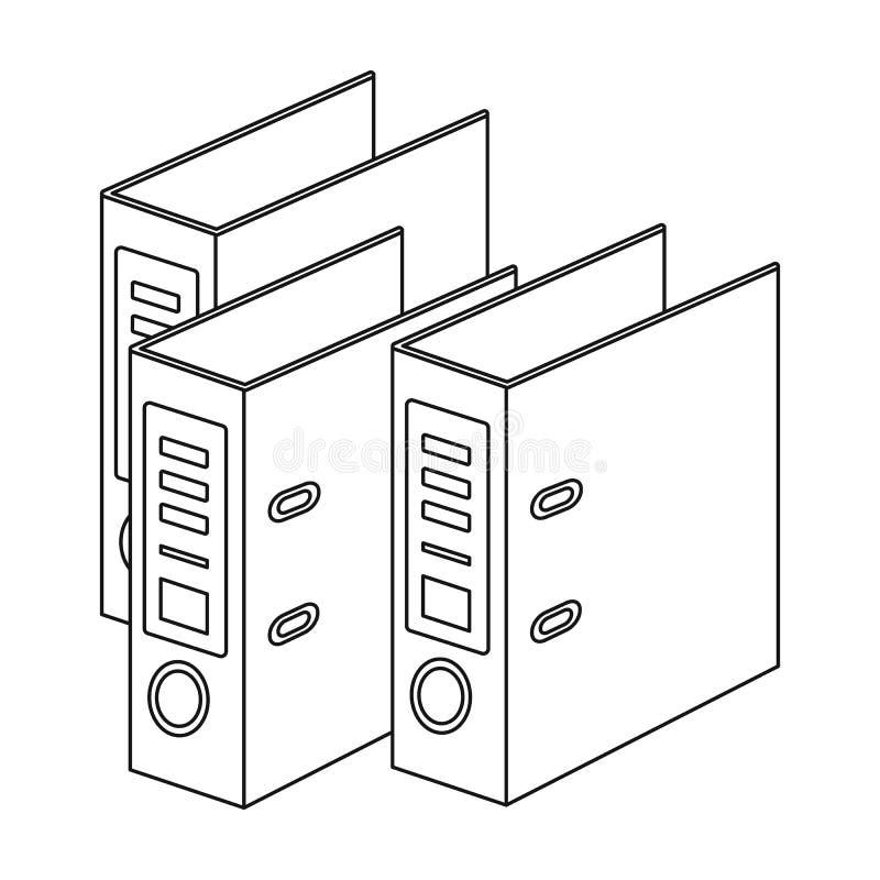 Icono de las carpetas de anillo en estilo del esquema aislado en el fondo blanco Ejemplo del vector de la acción del símbolo de l stock de ilustración