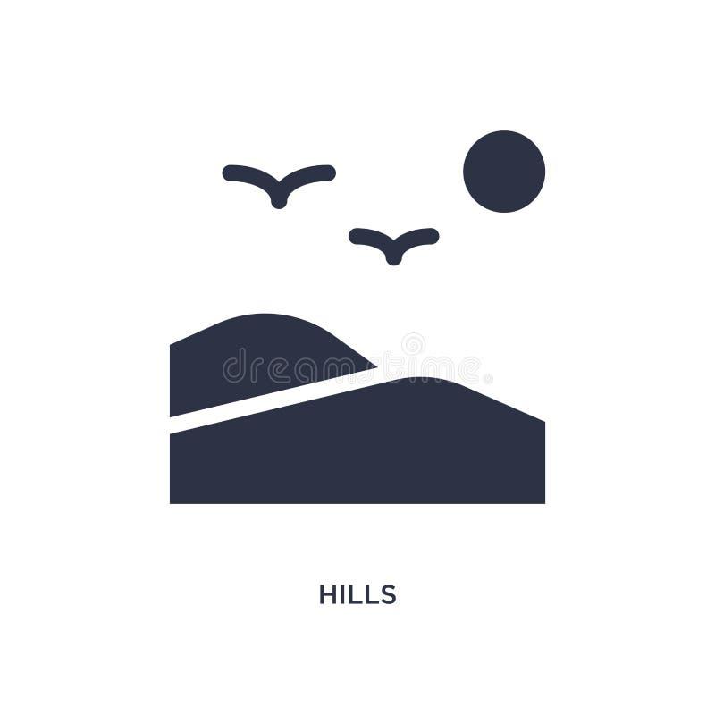 icono de las colinas en el fondo blanco Ejemplo simple del elemento del concepto de la naturaleza libre illustration