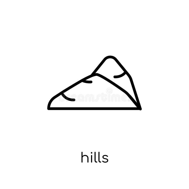 icono de las colinas Icono linear plano moderno de moda de las colinas del vector en blanco stock de ilustración