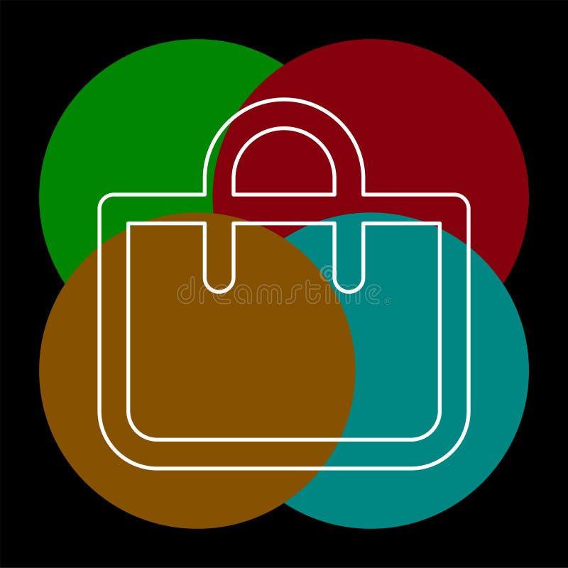 Icono de las compras, bolso de la moda del vector stock de ilustración