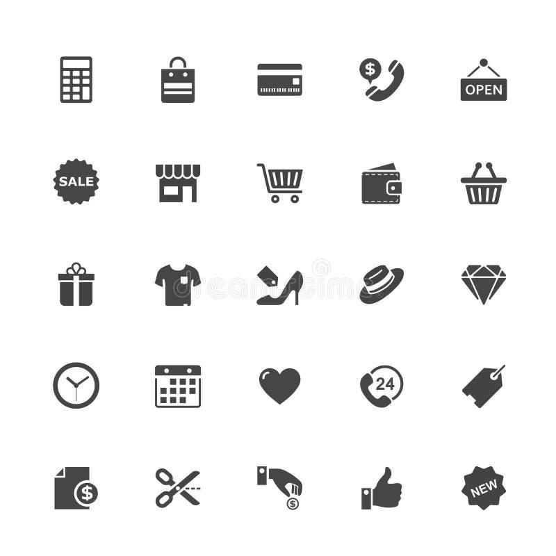Icono de las compras y del comercio en Whit Background stock de ilustración