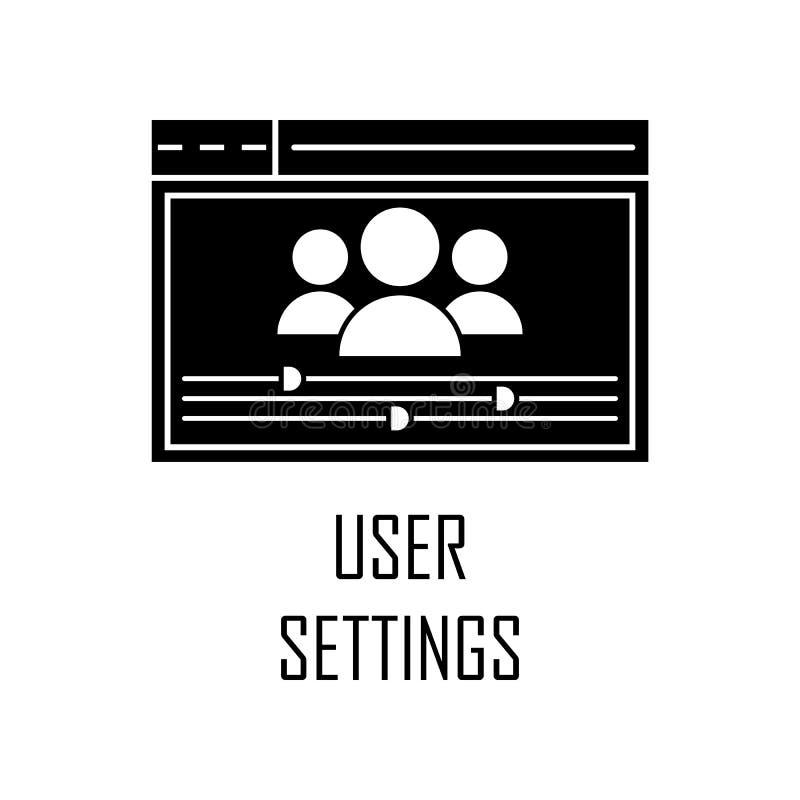 icono de las configuraciones del usuario Elemento del desarrollo web para los apps móviles del concepto y del web El icono detall ilustración del vector
