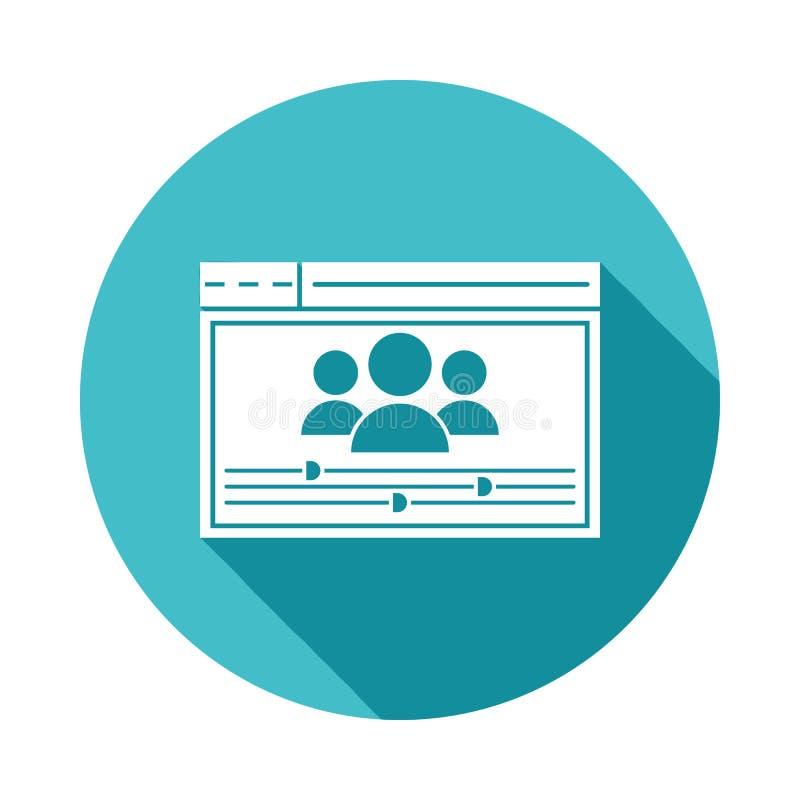 icono de las configuraciones del usuario en estilo largo plano de la sombra stock de ilustración