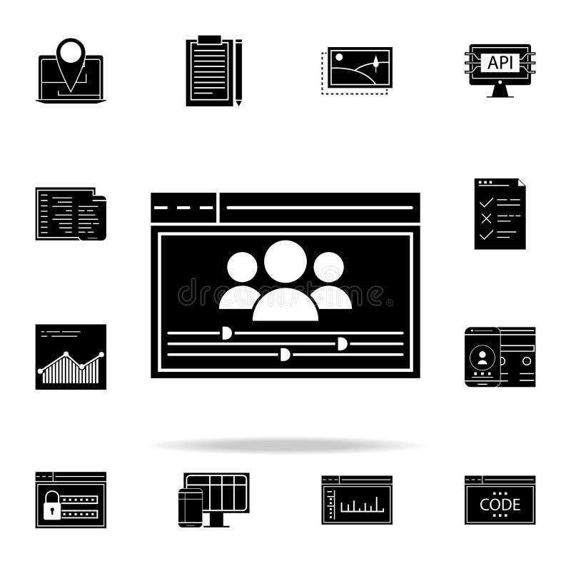 icono de las configuraciones del usuario Sistema universal de los iconos del desarrollo web para el web y el móvil ilustración del vector