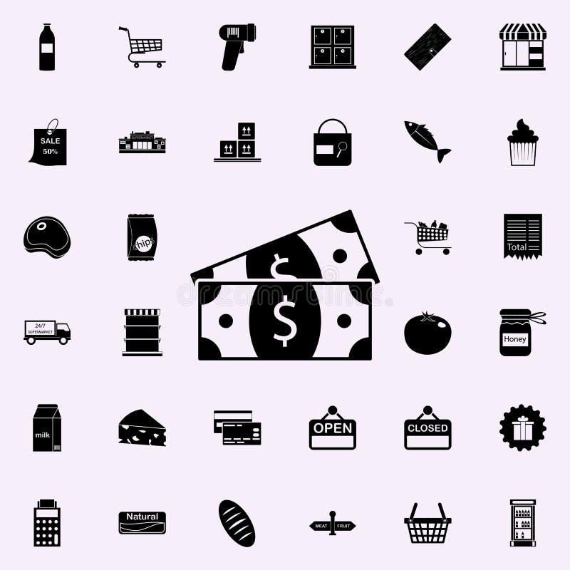 Icono de las cuentas de dinero comercialice el sistema universal de los iconos para el web y el móvil stock de ilustración