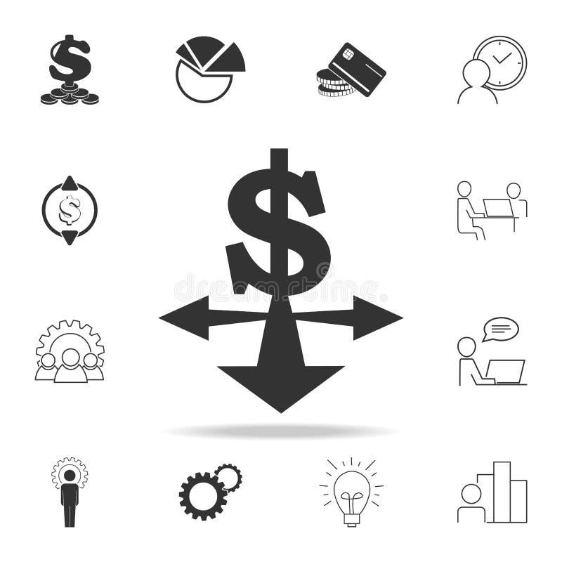 icono de las direcciones del dólar Sistema detallado de iconos del elemento de las finanzas, de las actividades bancarias y del b libre illustration
