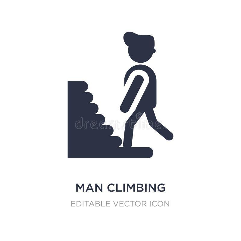 icono de las escaleras del hombre que sube en el fondo blanco Ejemplo simple del elemento del concepto de la gente stock de ilustración