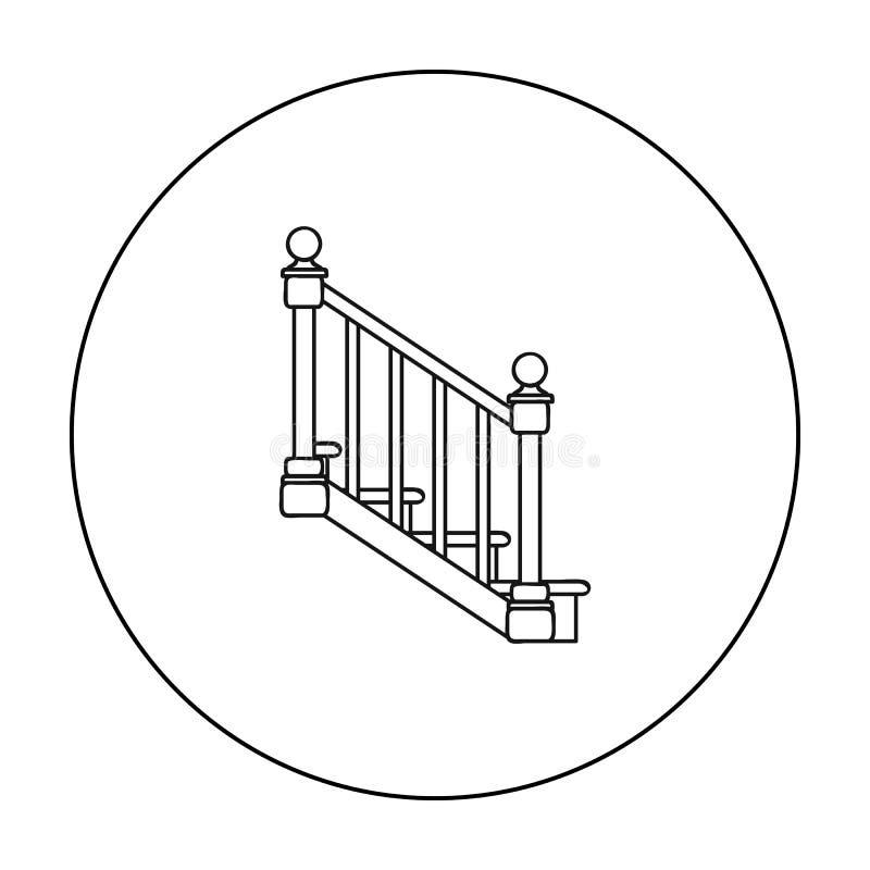 Icono de las escaleras en estilo del esquema aislado en el fondo blanco Ejemplo del vector de la acción del símbolo de la serrerí libre illustration