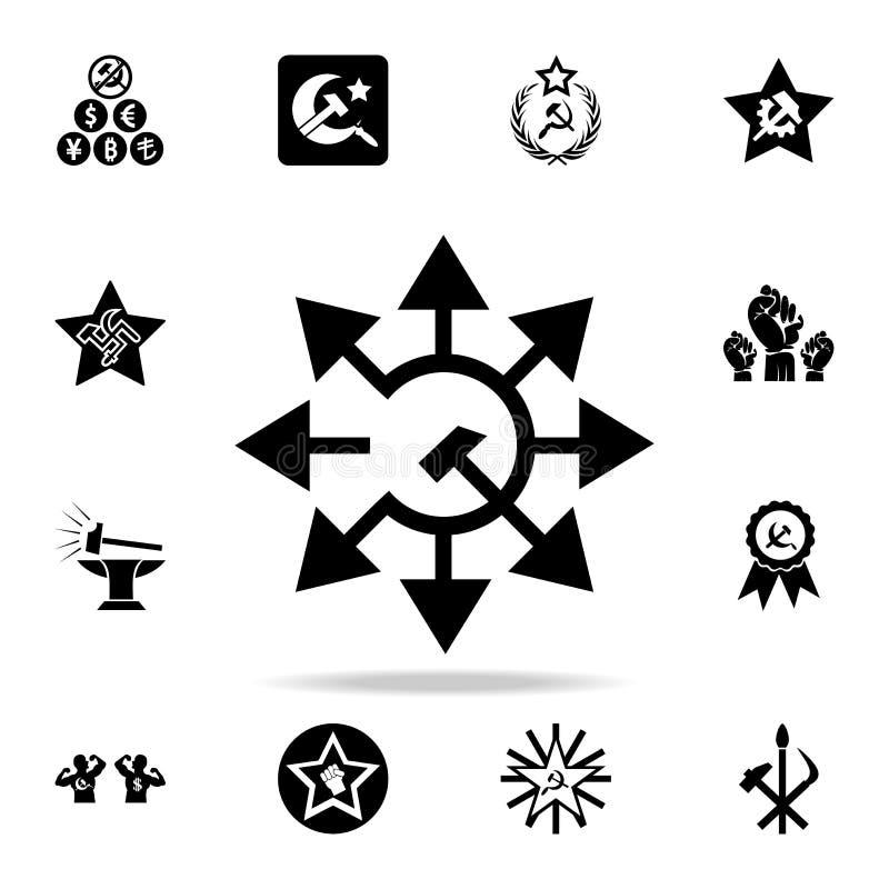 icono de las flechas de la hoz y del martillo Sistema detallado de iconos del comunismo y del socialismo Diseño gráfico superior  stock de ilustración