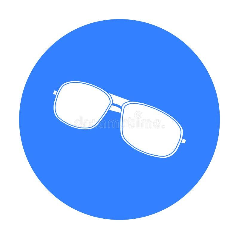 Icono de las gafas de sol tipo aviador en estilo negro aislado en el fondo blanco Ejemplo del vector de la acción del símbolo del libre illustration