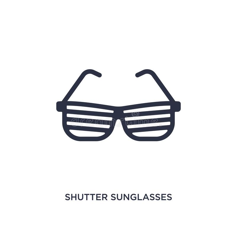 icono de las gafas de sol del obturador en el fondo blanco Ejemplo simple del elemento del concepto de la ropa libre illustration