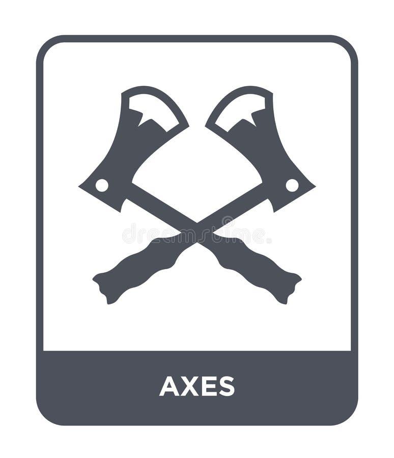 icono de las hachas en estilo de moda del diseño icono de las hachas aislado en el fondo blanco símbolo plano simple y moderno de stock de ilustración