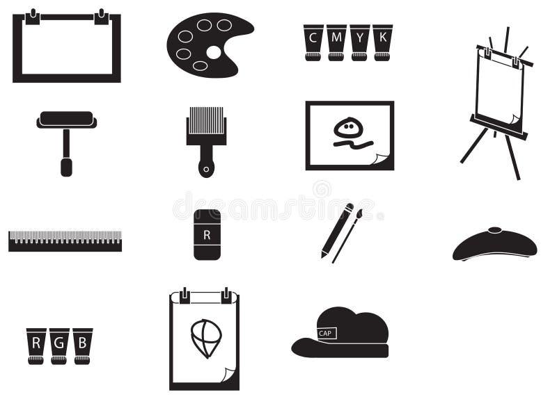 Icono de las herramientas de la pintura del artista de la silueta fijado (vector) stock de ilustración