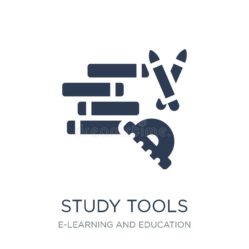 Icono de las herramientas del estudio Icono plano de moda de las herramientas del estudio del vector en b blanco stock de ilustración