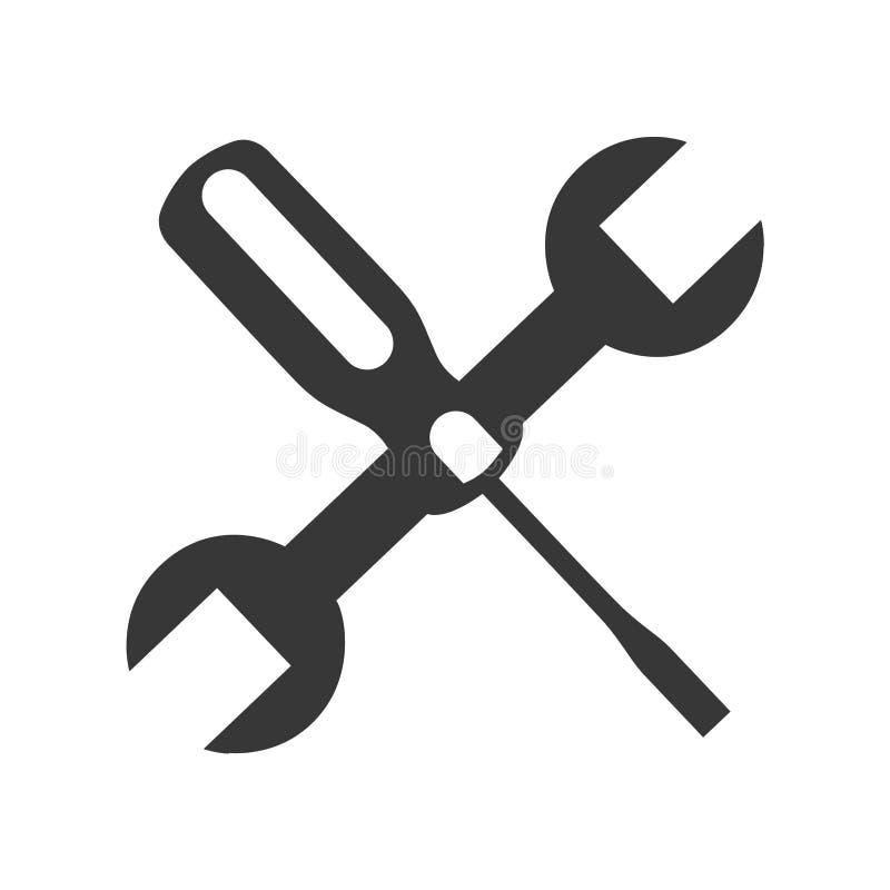 Icono de las herramientas del mecánico de la llave y del destornillador libre illustration