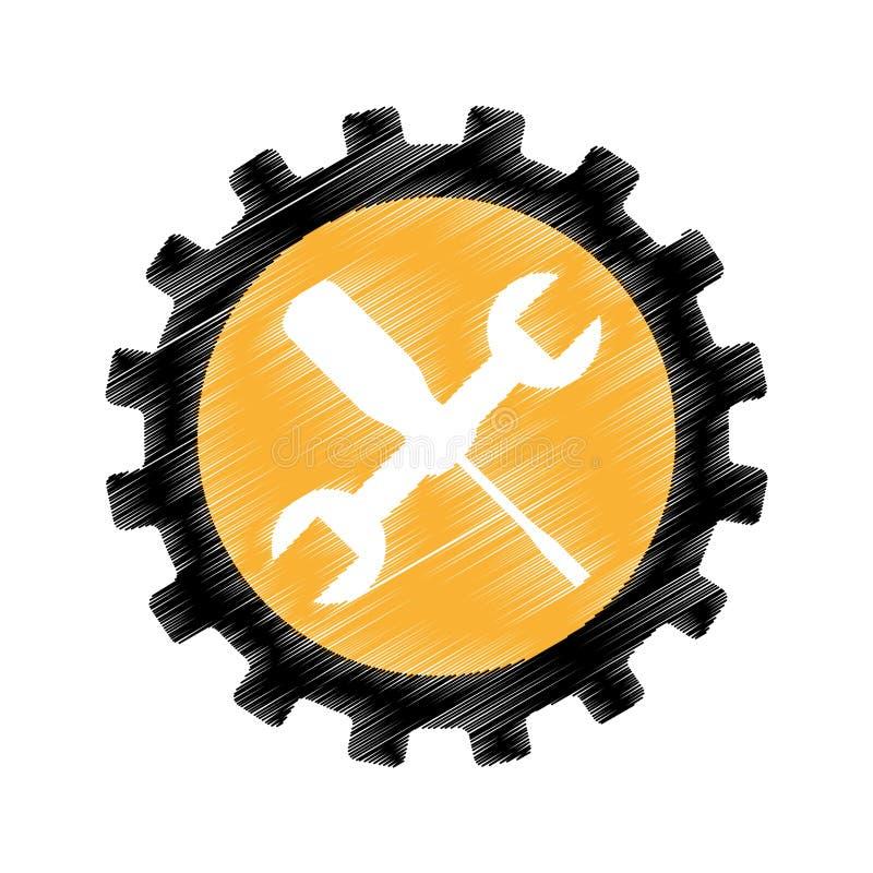 Icono de las herramientas del mecánico de la llave y del destornillador ilustración del vector