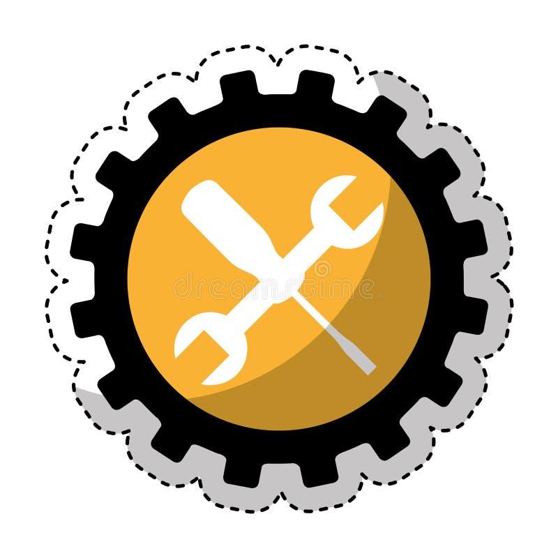 Icono de las herramientas del mecánico de la llave y del destornillador stock de ilustración