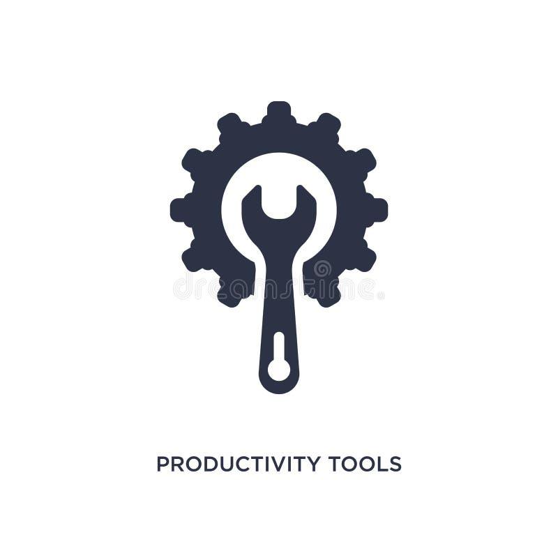 icono de las herramientas de la productividad en el fondo blanco Ejemplo simple del elemento del concepto de la productividad ilustración del vector