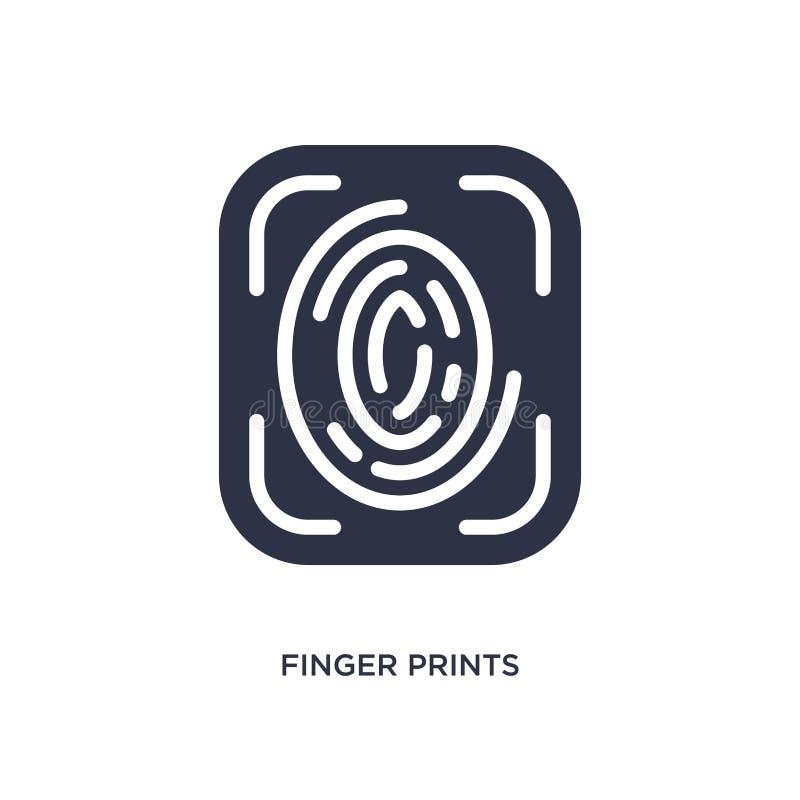 icono de las huellas dactilares en el fondo blanco Ejemplo simple del elemento del concepto de la interfaz de usuario ilustración del vector