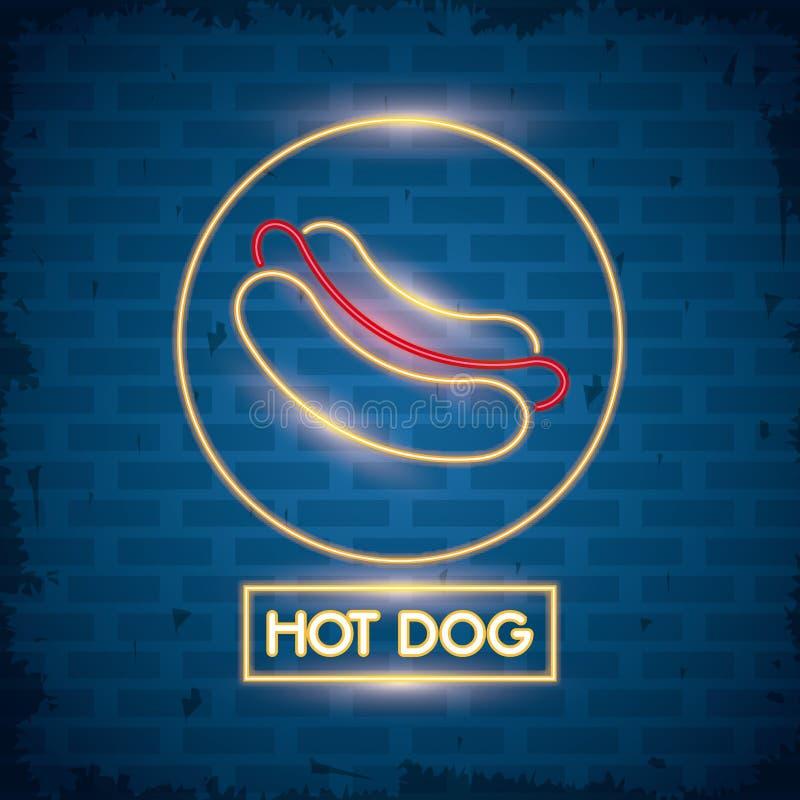 Icono de las luces de neón del perrito caliente ilustración del vector