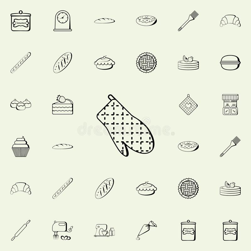 icono de las manoplas de la cocina Sistema universal de los iconos de la tienda de la panadería para el web y el móvil libre illustration