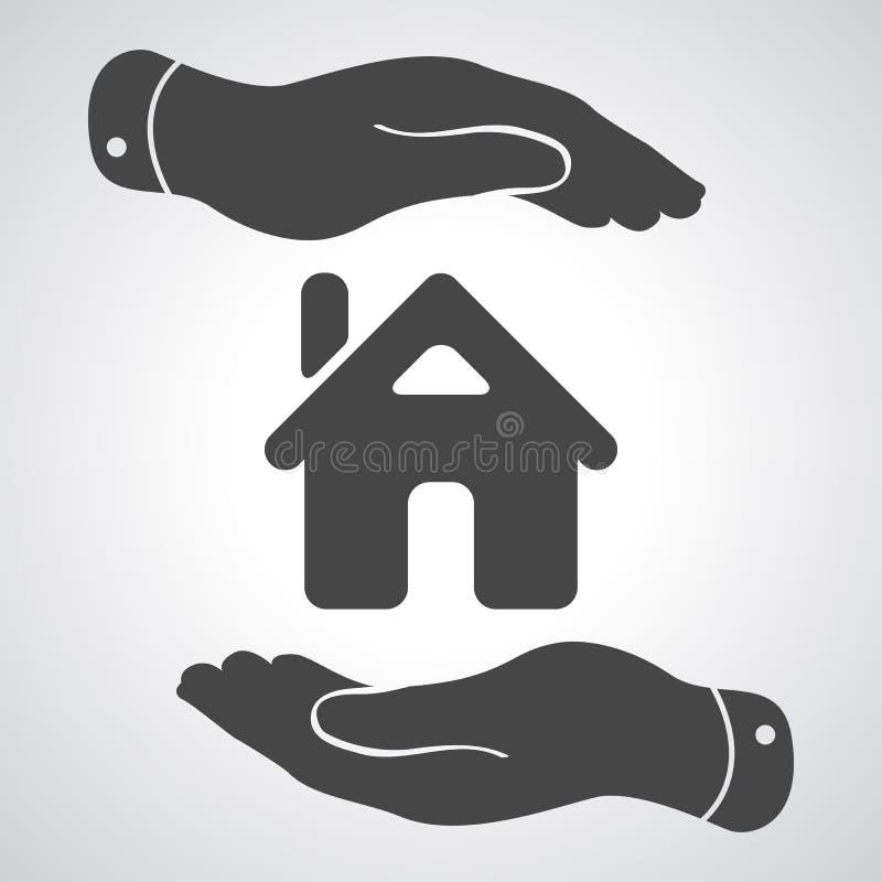 Icono de las manos que cuida - casa de protección libre illustration