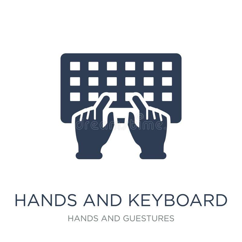 Icono de las manos y del teclado Manos y teclado planos de moda i del vector stock de ilustración