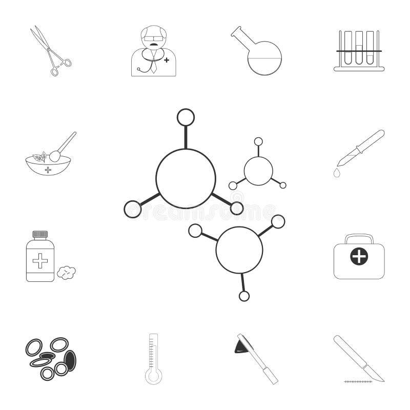 Icono de las moléculas Ejemplo simple del elemento Diseño del símbolo de las moléculas del sistema médico de la colección Puede s libre illustration