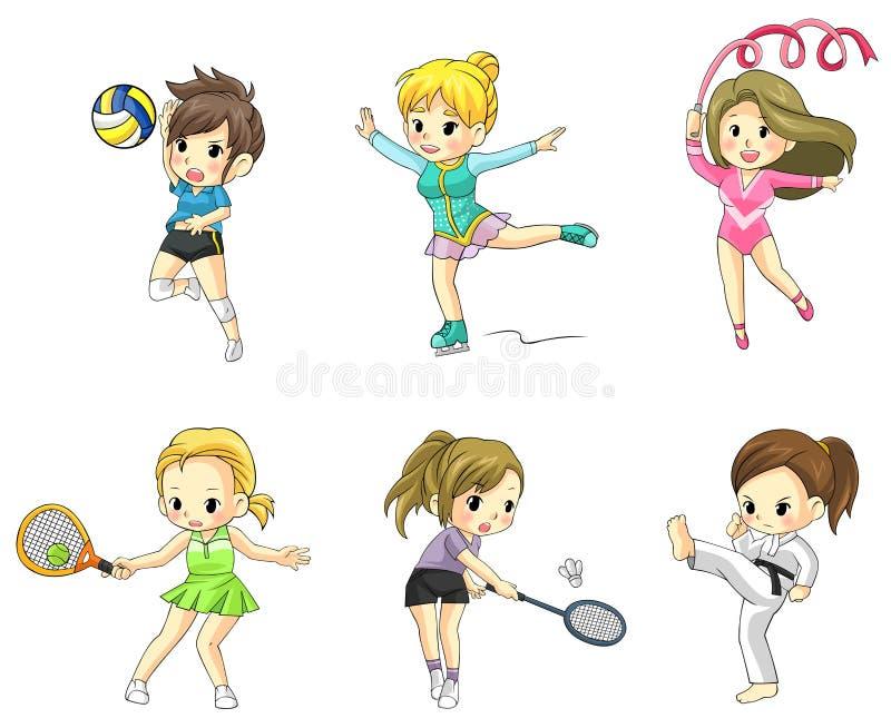 Icono de las muchachas del atleta de la historieta en el diverso tipo de spor libre illustration