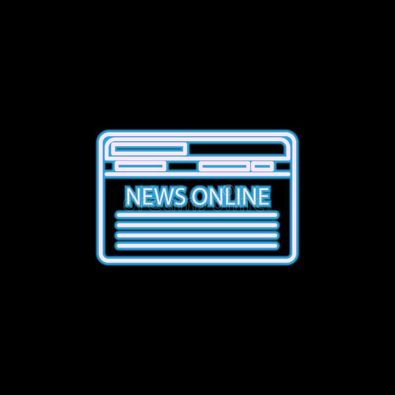 icono de las noticias de Internet en el estilo de neón Uno del icono de la colección del periodismo se puede utilizar para UI, UX ilustración del vector
