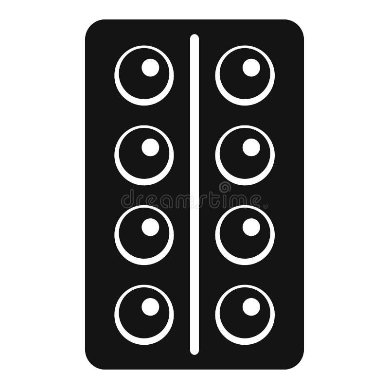 Icono de las píldoras del paquete, estilo simple stock de ilustración