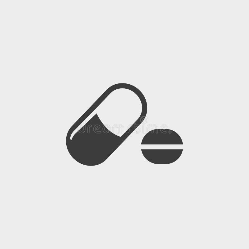 Icono de las píldoras en un diseño plano en color negro Ilustración EPS10 del vector ilustración del vector