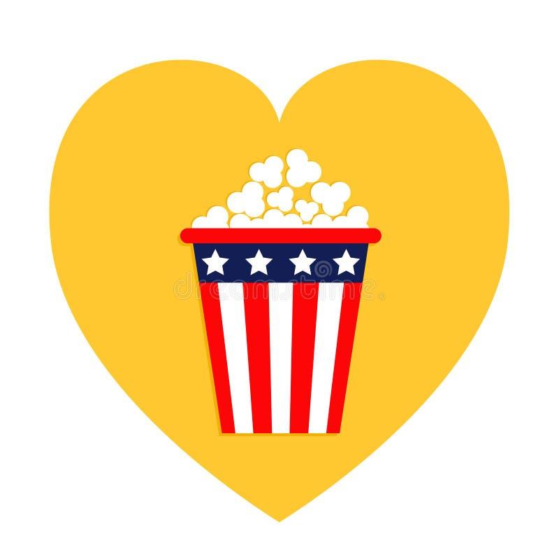 Icono de las palomitas Dimensión de una variable del corazón Amo el icono del cine de la película Diseño plano Estrellas y tiras  libre illustration