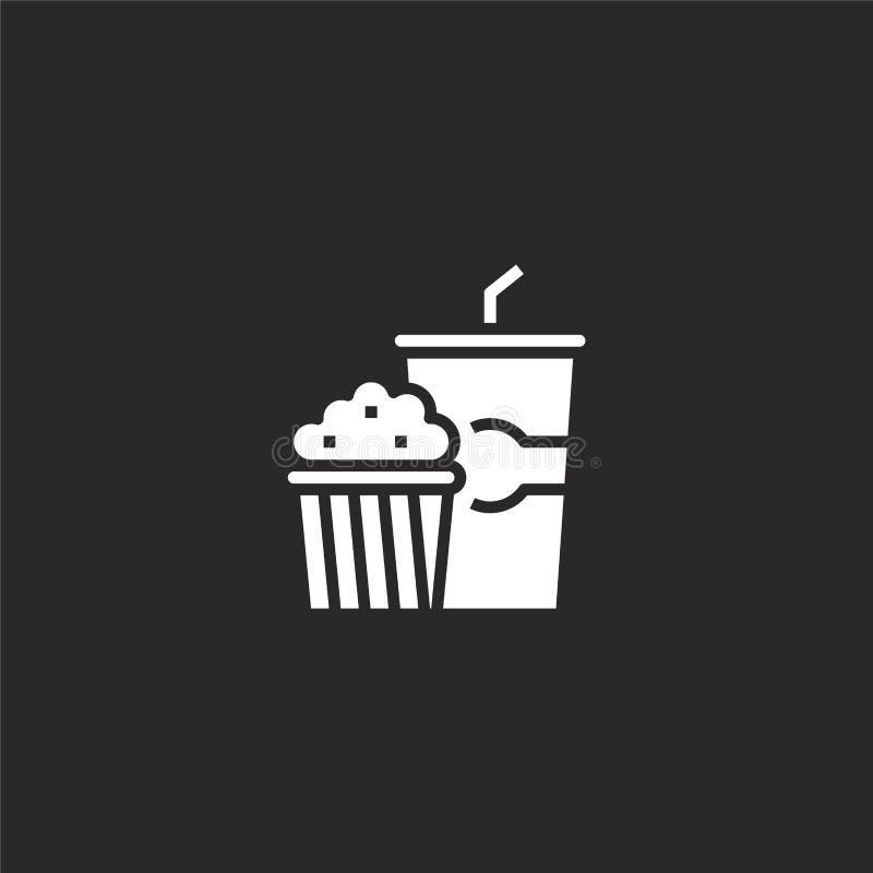 Icono de las palomitas Icono llenado de las palomitas para el diseño y el móvil, desarrollo de la página web del app icono de las stock de ilustración