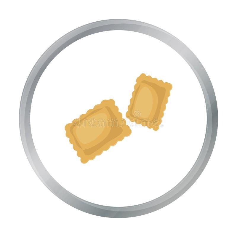 Icono de las pastas de los raviolis en estilo de la historieta aislado en el fondo blanco Tipos de ejemplo del vector de la acció ilustración del vector
