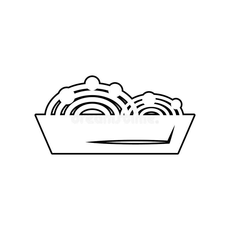 Icono de las pastas de los espaguetis Elemento de la consumición para el concepto y el icono móviles de los apps de la web Esquem libre illustration
