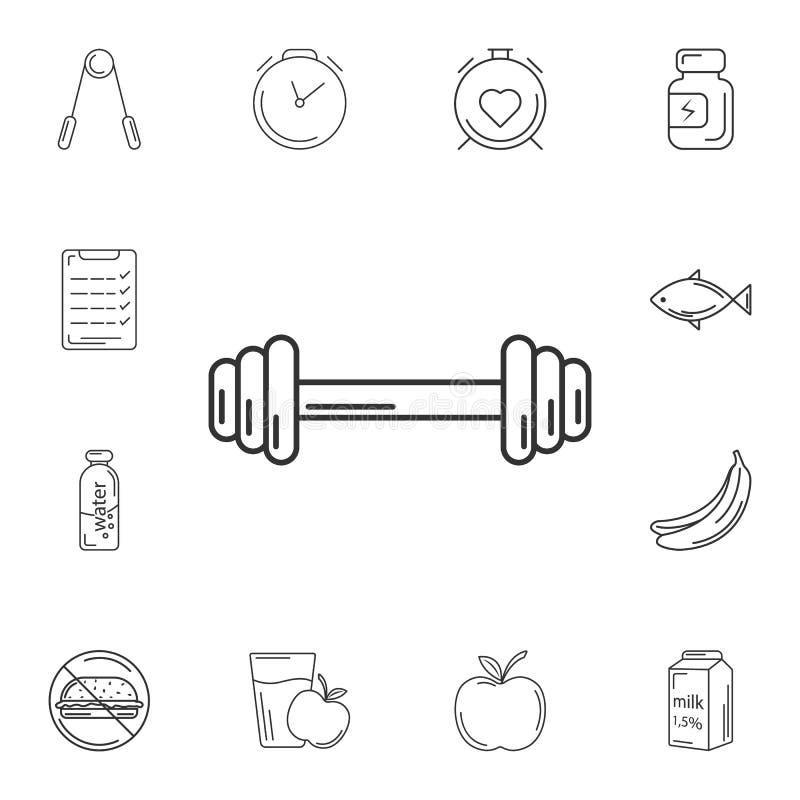 Icono de las pesas de gimnasia Ejemplo simple del elemento Diseño del símbolo de las pesas de gimnasia sistema de la colección de libre illustration