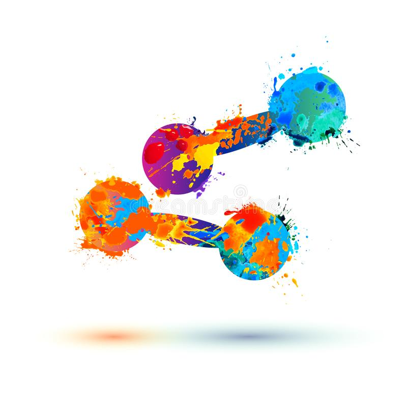 Icono de las pesas de gimnasia de la pintura del chapoteo libre illustration